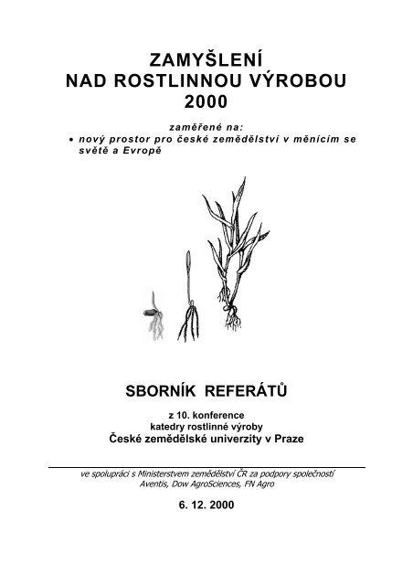 Zamyšlení nad rostlinnou výrobou - Konference, Agro