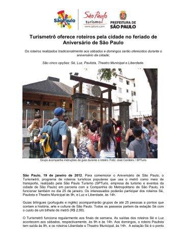 Turismetrô oferece roteiros pela cidade no feriado de Aniversário de ...