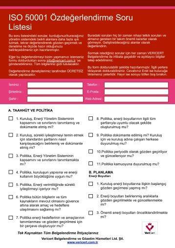 ISO 50001 Özdeğerlendirme Soru Listesi