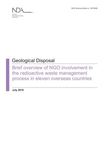 Geological Disposal Brief overview of NGO involvement in the ...
