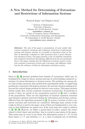 A New Method for Determining of Extensions and Restrictions of ...