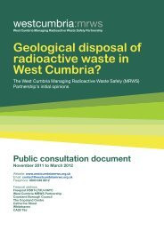 Geological disposal of radioactive waste in West Cumbria?