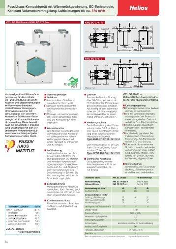 Produkt-Beschreibung und technische Daten - Helios KWL easyPlan