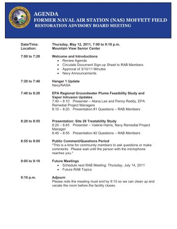 AGENDA - Documents for Moffett Field