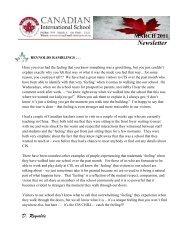 March 2011 Newsletter - Canadian International School Abu Dhabi