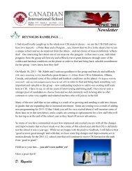 April 2011 Newsletter - Canadian International School Abu Dhabi