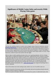 Significance of Mobile Casino Safety and security While Playing Video games