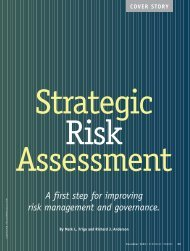 A first step for improving risk management and governance. - RIMS