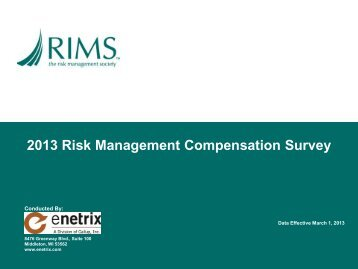 2013 Risk Management Compensation Survey - RIMS