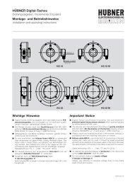 HÜBNER Digital-Tachos Montage- und Betriebshinweise Wichtige ...