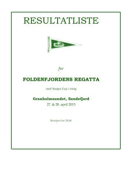 RESULTATLISTE - Foldenfjordens regatta 2013 - Sandefjord Roklubb