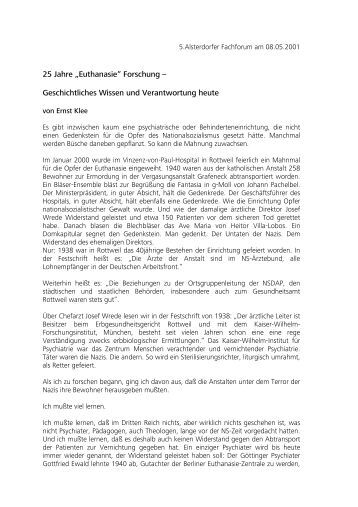 """25 Jahre """"Euthanasie"""" Forschung – Geschichtliches Wissen und ..."""