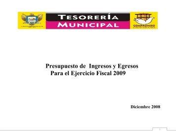 presupuesto de ingresos y egresos para el ejercicio fiscal de 2009