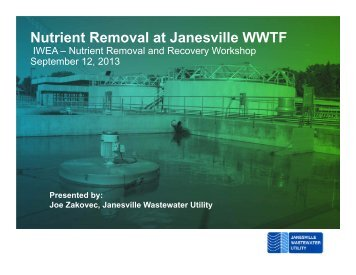 Nutrient Removal at Janesville WWTF