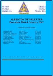 NEWSLETTER 200612 December - Alberton Athletic Club
