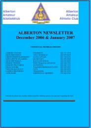 NEWSLETTER 200612 December - Alberton Athletic Club