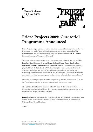 Frieze Projects 2009: Curatorial Programme Announced
