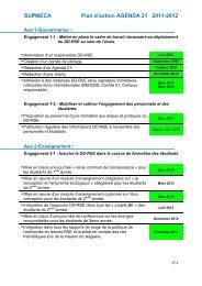 Le plan d'action de l'agenda 21 - Supméca