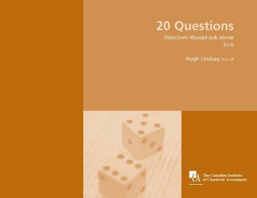 Twenty Questions Directors Should Ask about Risk - RIMS