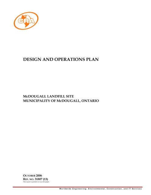 Design and Opertions Plan - McDougall Landfill Site