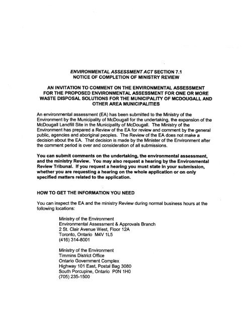 Environmental Assessment Act Section 7.1 (Part 1)