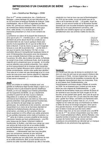 IMPRESSIONS D'UN CHASSEUR DE BIÈRE - Bov