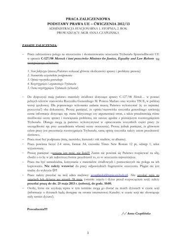 Praca zaliczeniowa - Podstawy prawa UE 2012-13