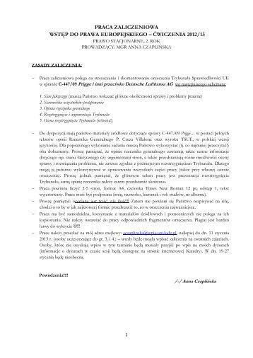 Praca zaliczeniowa - Wstep do prawa europejskiego 2012-13