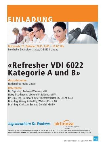 «Refresher VDI 6022 Kategorie A und B» - Aktinova