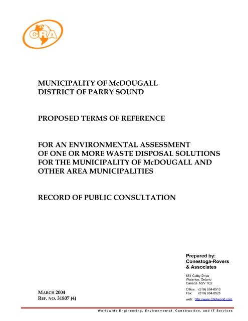 McDougall Waste Disposal EA Proposed ToR - Record of Consultation