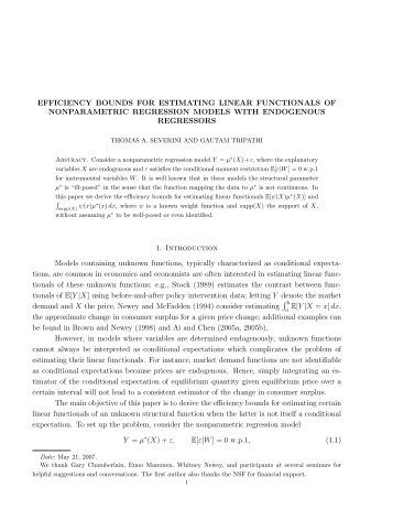 EFFICIENCY BOUNDS FOR ESTIMATING LINEAR FUNCTIONALS ...