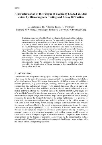 Characterization of the Fatigue of Cyclically Loaded Welded Joints ...