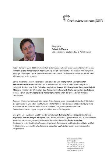 Biographie Robert Hoffmann Solo-Trompeter Deutsche Radio ...