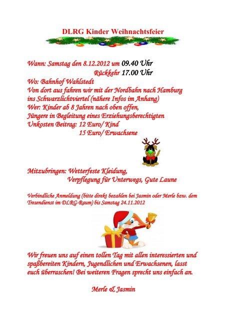 Beitrag Zur Weihnachtsfeier.Weihnachtsfeier Der Kinder Dlrg Wahlstedt Ev