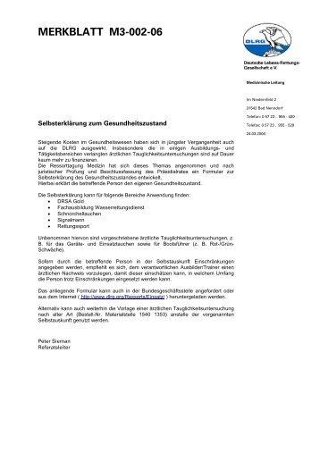 Selbsterklärung zum Gesundheitszustand - DLRG Wahlstedt eV