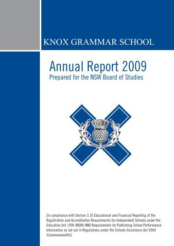 Knox Annual Report 2009 - Knox Grammar School