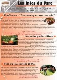 Les Infos du Parc n°9 - Avril 2011 - Ville de Rives