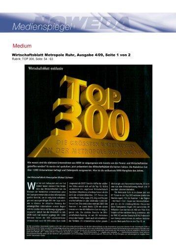 Wirtschaftsblatt Metropole Ruhr: TOP 300 - NOWEDA in NRW
