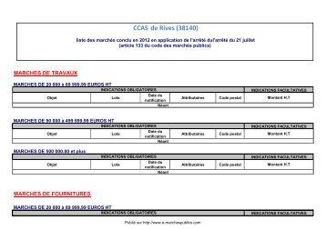 article 133 du CMP 2006 : liste des marchés conclus