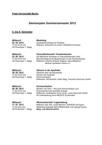 Seminarplan Sommersemester 2012 - Noweda