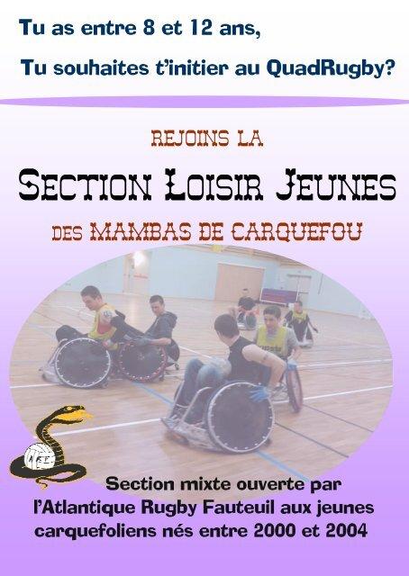 Section Loisir Jeunes - Atlantique Rugby Fauteuil