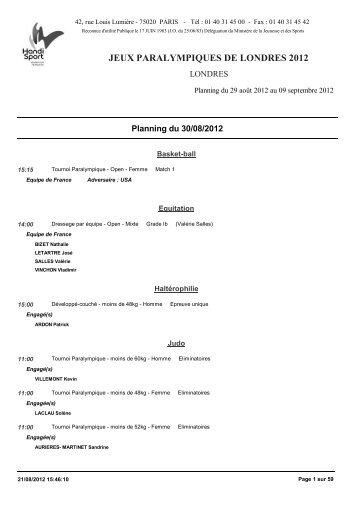 le planning de la délégation française - Atlantique Rugby Fauteuil