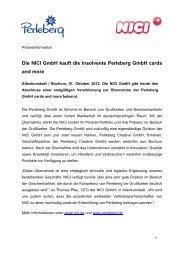 Die NICI GmbH kauft die insolvente Perleberg GmbH cards and more
