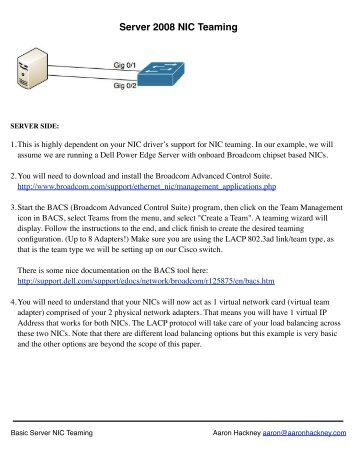 Server 2008 NIC Teaming