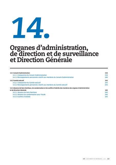 Organes d'administration, de direction et de Finance EDF