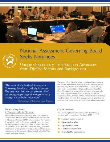 Nominations Flyer - National Assessment Governing Board