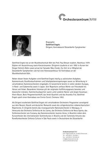 Biographie Gottfried Engels Dirigent, Kontrabassist Düsseldorfer ...