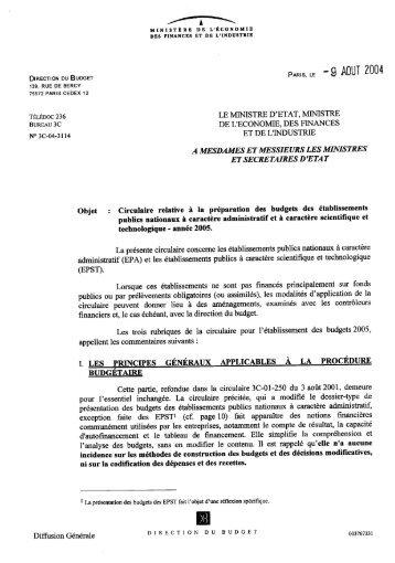 Circulaire relative à la préparation des budgets ... - Ape.bercy.gouv.fr