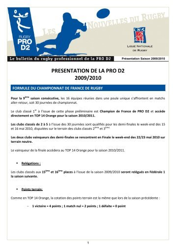 la presentation complete de la saison 2009-2010 - Ligue Nationale ...