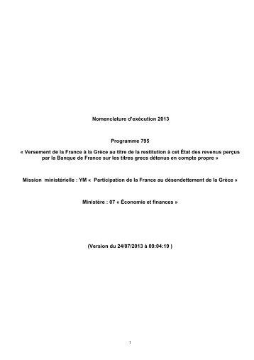 Versement de la France à la Grèce au titre de la restitution à cet État ...